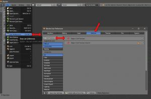 User Settings in Blender Öffnen um Cell Fracture zu aktivieren